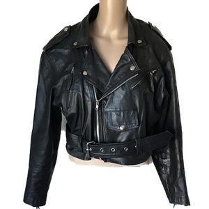 Wilson Leather Biker Jacket Size Medium